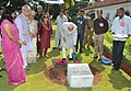 The Vice President, Shri Mohd. Hamid Ansari planting a sapling at Raj Bhawan, in Goa on September 22, 2014. The Governor of Goa, Smt. Mridula Sinha and Smt. Salma Ansari are also seen.jpg