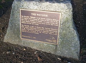 The Wayside - A plaque recognizes the role the Alcott family played as part of the Underground Railroad while living in this house.