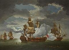Von links, im Hintergrund drei segelnde Kriegsschiffe auf hoher See, eines davon deutlich unter einer britischen Marineflagge;  in der Mitte rechts im Vordergrund drei segelnde Kriegsschiffe, von denen zwei Breitseiten abfeuern, während Gewehrrauch beginnt, sie zu verdecken.  Es gab keine US-Flagge auf dem amerikanischen Schiff, daher sagten die Briten, John Paul Jones sei ein Pirat.