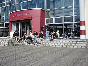 An Grianán Theatre - A group of young people gather outside the Theatre