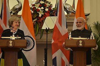 India–United Kingdom relations - British Prime Minister Theresa May (left) and Indian Prime Minister Narendra Modi (right), during a joint address in New Delhi; November 2016.