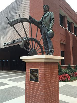 Ryman Auditorium - Statue of Thomas Ryman, outside the entrance to the auditorium which bears his name.