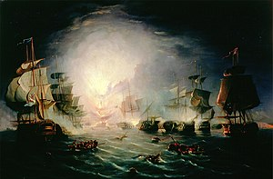 "John Thomas Serres - The Blowing up of the French Commander's Ship ""L'Orient"" at the Battle of the Nile, 1798"