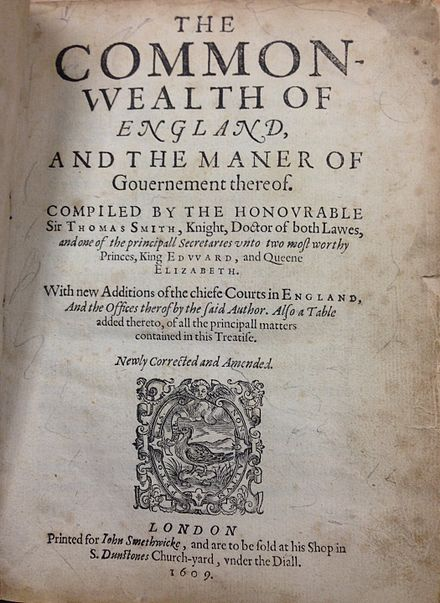 The title page of the 1609 edition of Smith's work Thomas Smith, The Common-wealth of England (1609, title page).jpg