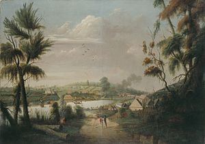 Thomas Watling - A Direct North General View of Sydney Cove, 1794