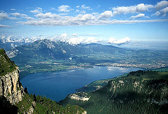 Bernese Highlands - View of Thun and Lake Thun from the Niederhorn