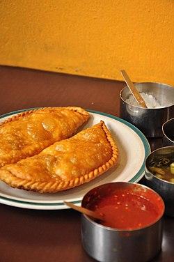 Tibetan snack Syabhaley in Nepal.jpg