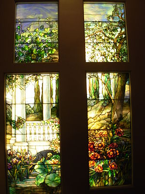 Stained glass wooden panels. Creator: Louis Co...