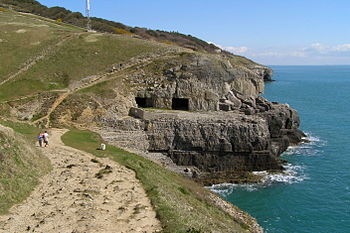 English: Tilly Whim Caves, from the coast path...