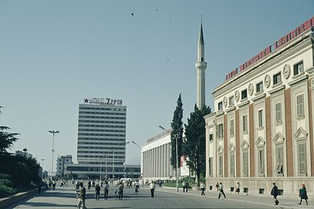 Center of Tirana in 1978, with slogans and propaganda on all the main buildings Tirana in 1978 2.jpg