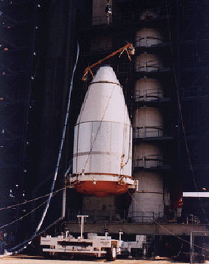 Nose cone - A nose cone that contained one of the Voyager spacecraft, mounted on top of a Titan III/Centaur launch vehicle.