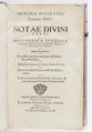 """Titelblad från 1586, """"...Notae divini verbi..."""" - Skoklosters slott - 93206.tif"""