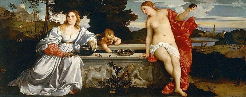 Archivo:Tiziano - Amor Sacro y Amor Profano (Galería Borghese, Roma, 1514).jpg