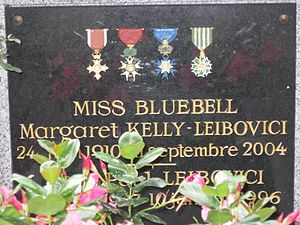 Margaret Kelly Leibovici - Memorial plaque on the grave of Margaret Kelly and her son Jean-Paul