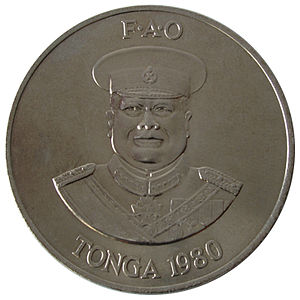Tongan paʻanga - 2 paʻanga coin depicting Taufa'ahau Tupou IV in military uniform.