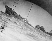 Torpedoed Japanese destroyer Yamakaze sinking on 25 June 1942