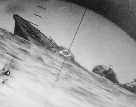 The torpedoed Yamakaze, as seen through the periscope of an American submarine, Nautilus, in June 1942 Torpedoed Japanese destroyer Yamakaze sinking on 25 June 1942.jpg