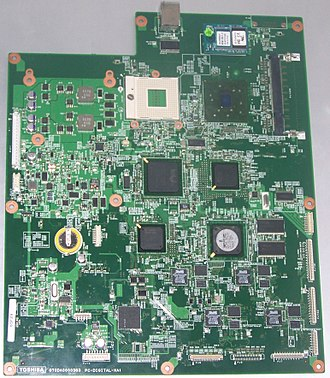 Computer engineering - This motherboard used in a HD DVD player is the result of computer engineering efforts.