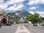 Banff Avenue against Cascade Mountain