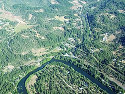 An aerial image of Trail and the Rogue River