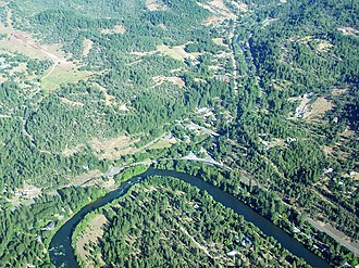 Trail, Oregon - An aerial image of Trail and the Rogue River