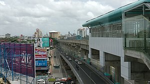 Kochi Metro - A train leaving Edapally Station