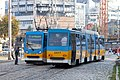 Tram in Sofia near Russian monument 015.jpg
