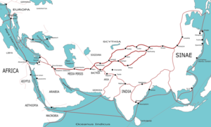 Trading routes used around the 1st century CE were centered on the Silk Road.