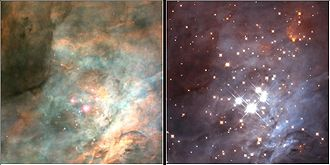 Open cluster - Infrared light reveals the dense open cluster forming at the heart of the Orion nebula.