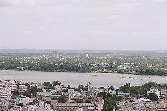 Tiruchirappalli district - Kaveri river bisecting Tiruchirappalli and Srirangam