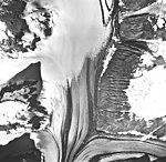 Tsirku Glacier, valley glaciers with large medial moraines, September 17, 1966 (GLACIERS 5264).jpg