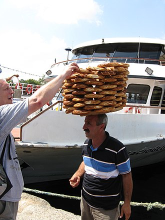 Simit - A street vendor of simit in Istanbul