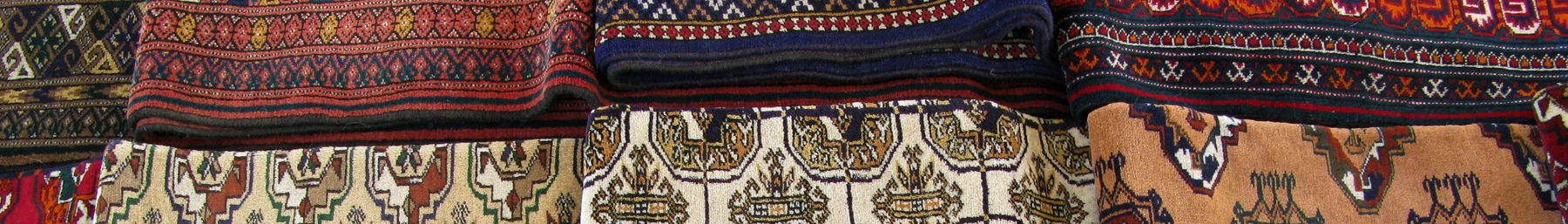 Carpets, Turkmenistan's most famous product, for sale in the Tokulchka Bazaar