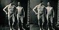 Two men posing naked in a photographic studio, standing with Wellcome V0048564EB.jpg