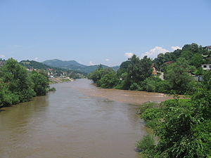 Krivaja (Bosna) - The mouth of Krivaja river in the Bosna River next to the city Zavidovići.