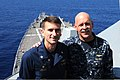 U.S. Navy Vice Adm. Scott H. Swift, right, the commander of the U.S. 7th Fleet, and Cmdr. Justin Orlich, the commanding officer of the guided missile destroyer USS Chung-Hoon (DDG 93), pose for a photo on 130529-N-GR655-026.jpg