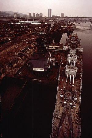 USS Baltimore (CA-68) - Baltimore being dismantled at Zidell shipbreaking yard in September 1972.