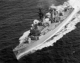 USS Charles F. Adams (DDG-2) underway at high speed, circa in 1960.jpg