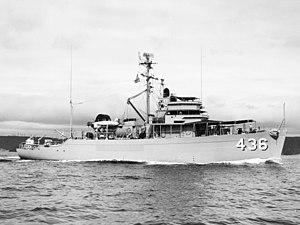 USS Energy (AM-436) - USS Energy (MSO-436) underway in July 1954.