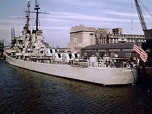 USS Fresno (CL-121) at Dublin, Ireland, in May 1948 (80-G-K-9384).jpg