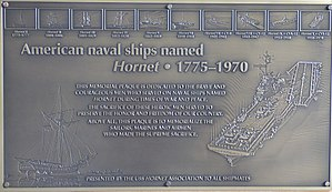 USS Hornet - Memorial Plaque for American naval ships named Hornet from 1775 to 1970