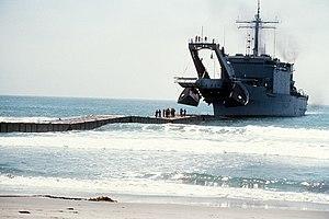 Newport-class tank landing ship - Image: USS San Bernardino (LST 1189) during landing exercise in 1979