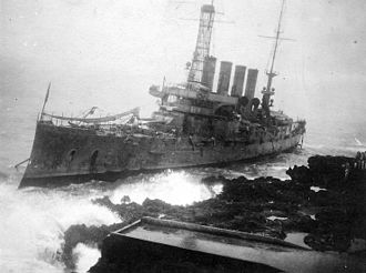 USS Tennessee (ACR-10) - The wreck of Memphis at Santo Domingo on 29 August 1916.