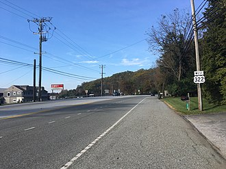 U.S. Route 322 in Pennsylvania - US 322 westbound past the US 30 interchange near Downingtown