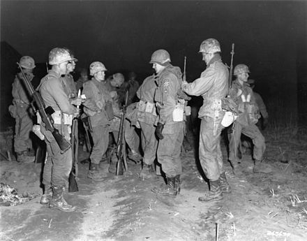3rd Ranger Company troops getting ready to patrol the Imjin River, 1951 US 3rd infantry troops, before Imjin River patrol, Korea 17-April-1951.jpg