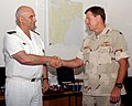 US Navy 050817-N-7469S-001 Commander, U.S. Naval Forces Central Command-U.S. Fifth Fleet Vice Adm. David Nichols, right, welcomes French Vice Adm. Jacques Mazars, as the new Commander of Task Force One Five Zero (CTF-150).jpg