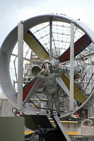 Ducted fan - A Sailor checks the ducted propeller of a Landing Craft Air Cushion (LCAC) Hovercraft