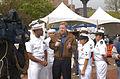 US Navy 070506-N-9599T-001 Chief Meteorologist Chris Dunn, Fox 31 News, spotlights members of USS Mesa Verde (LPD 19) during the Denver Cinco de Mayo Festival.jpg