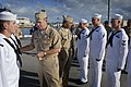 US Navy 070507-N-0696M-200 Chief of Naval Operations (CNO) Adm. Mike Mullen and Master Chief Petty Officer of the Navy (MCPON) Joe R. Campa Jr. visit with Sailors assigned to guided missile destroyer USS Russell (DDG 59).jpg