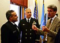 US Navy 071004-N-7163S-001 Command Master Chief Ross Garcia and Chief Warrant Officer Douglas Fasseel Both assigned to Mobile Diving and Salvage Unit (MDSU) 2 meets with Minneapolis Mayor R.T. Rybak at City Hall.jpg